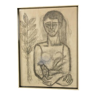 Listed Artist Jose Garcia Llort 1954 Woman Holding a Bird Charcoal Drawing