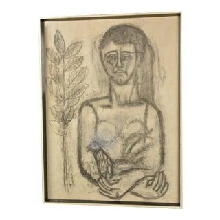 Listed Artist Jose Garcia Llort 1954 Woman Holding a Bird Charcoal Drawing