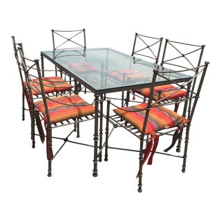 Wrought Iron & Glass Patio Dining Set- 7 Pieces