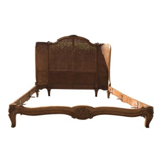 Antique French Provincial Cane & Carved Wood Full Size Bed