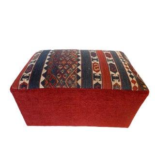 Custom Made Antique Kilim Ottoman