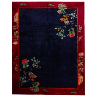 Art Deco Chinoiserie 1930's Tufted Pile Wool Rug - 8′3″ × 10′3″