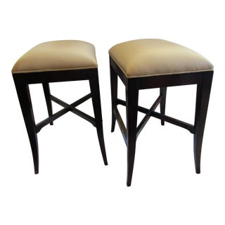 Woodbridge Leather Topped Benches Low Stools - A Pair