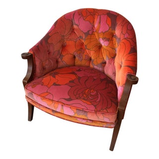 Retro Floral Deadstock Velvet Upholstered Accent Chair