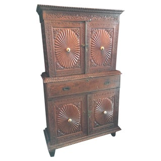 Antique British Colonial Carved Cabinet Hutch