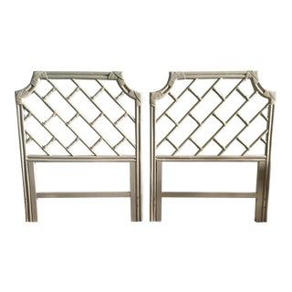 Vintage Twin Bamboo Rattan Pagoda Chippendale Headboards - A Pair