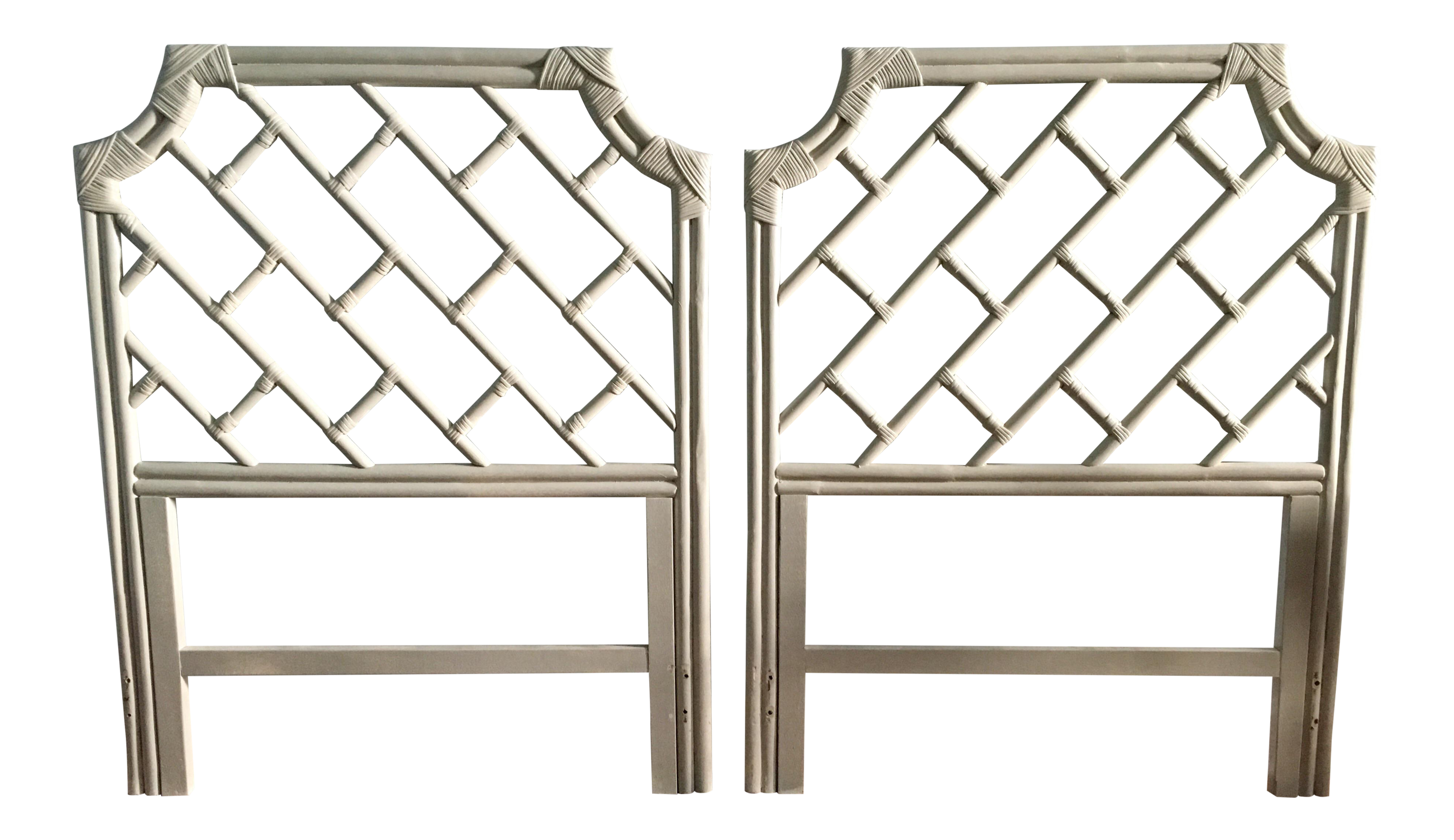 Vintage Twin Bamboo Rattan Pagoda Chippendale Headboards   A Pair