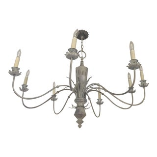 Shabby Chic Carved Wood 8 Arm Chandelier