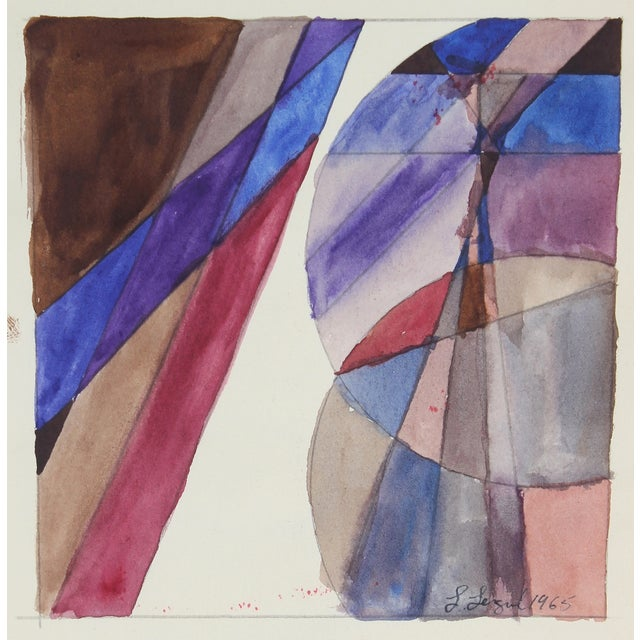 Vintage 1965 Abstract Geometric Gouache Painting - Image 1 of 2