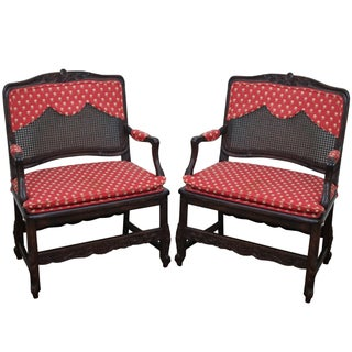 French Country Wide Seat Open Armchairs - A Pair