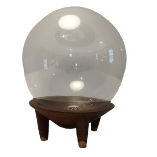 Vintage Glass Orb on Wooden Stand