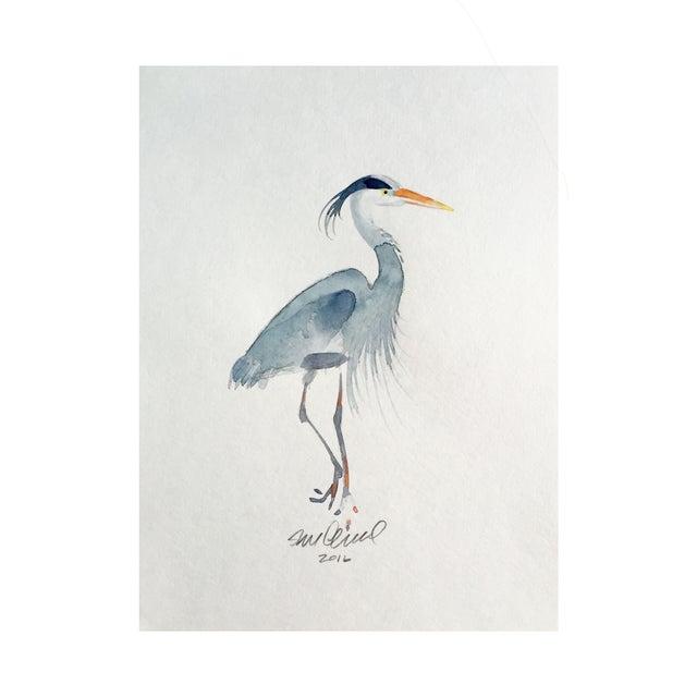 Heron Watercolor Drawing - Image 2 of 2
