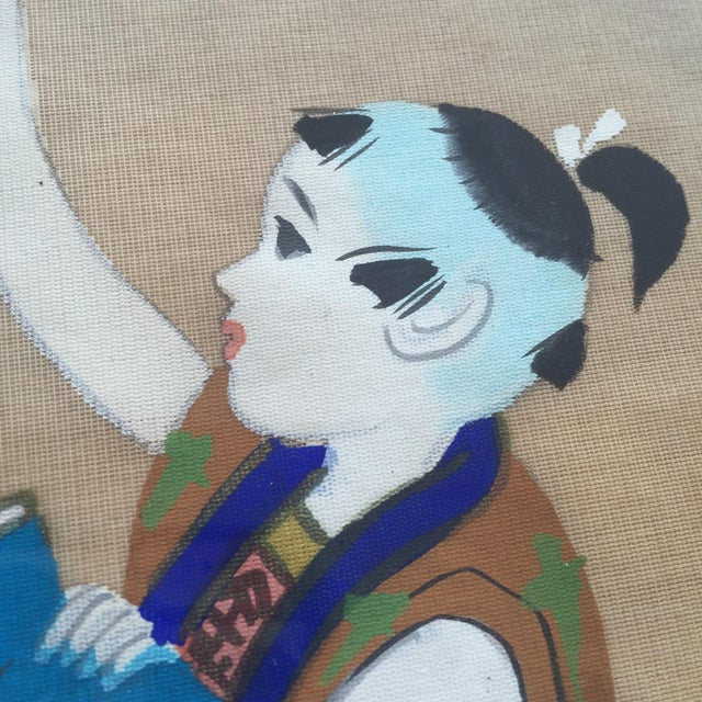 Japanese Hand Painted Silk - Image 8 of 11