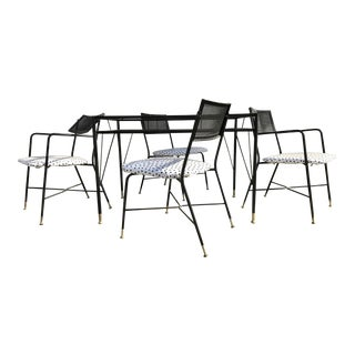 Mid-Century Wrought Iron Dinette Set - Set of 4