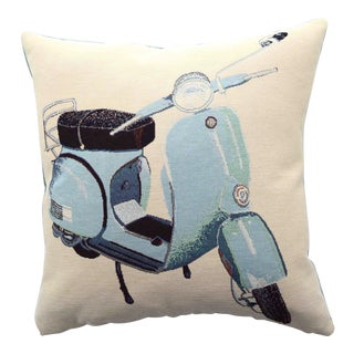 Italian Vintage Style Vespa Scooter Pillow