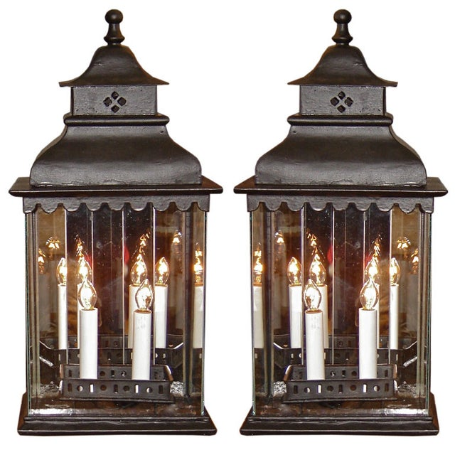 Early Iron Black Lanterns - A Pair - Image 1 of 4
