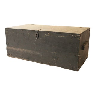 Vintage Wood Military Foot Locker Trunk