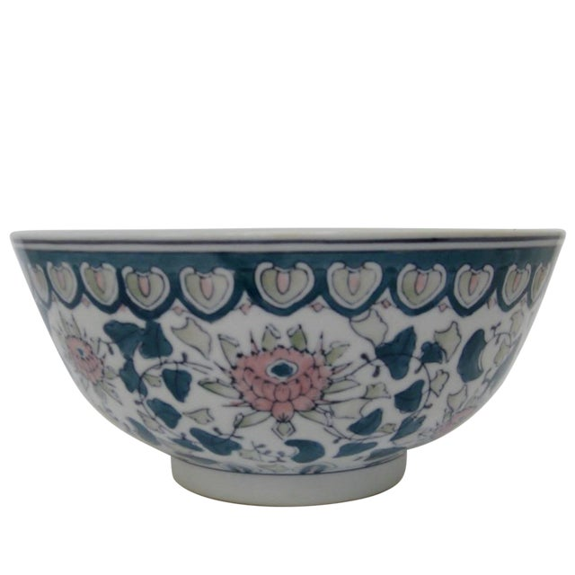 Chinese Green & Pink Floral Porcelain Serving Bowl - Image 1 of 7
