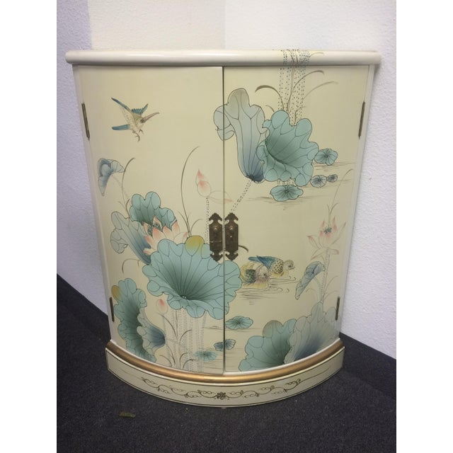 Image of Asian White Lacquer Hand-Painted Corner Cabinet