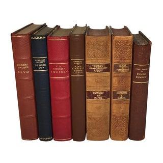 Vintage Danish Leather Books - Set of 7