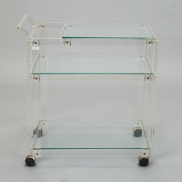 Mid-Century Lucite And Glass Bar Trolley Cart - Image 2 of 4