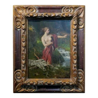 """Diana the Huntress Bathing"" 19th Century Oil Painting"