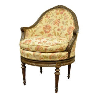 Vintage French Louis XVI Style Carved Walnut Swivel Vanity Side Arm Chair