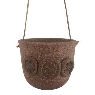 Vintage Mid-Century Stoneware Hanging Planter