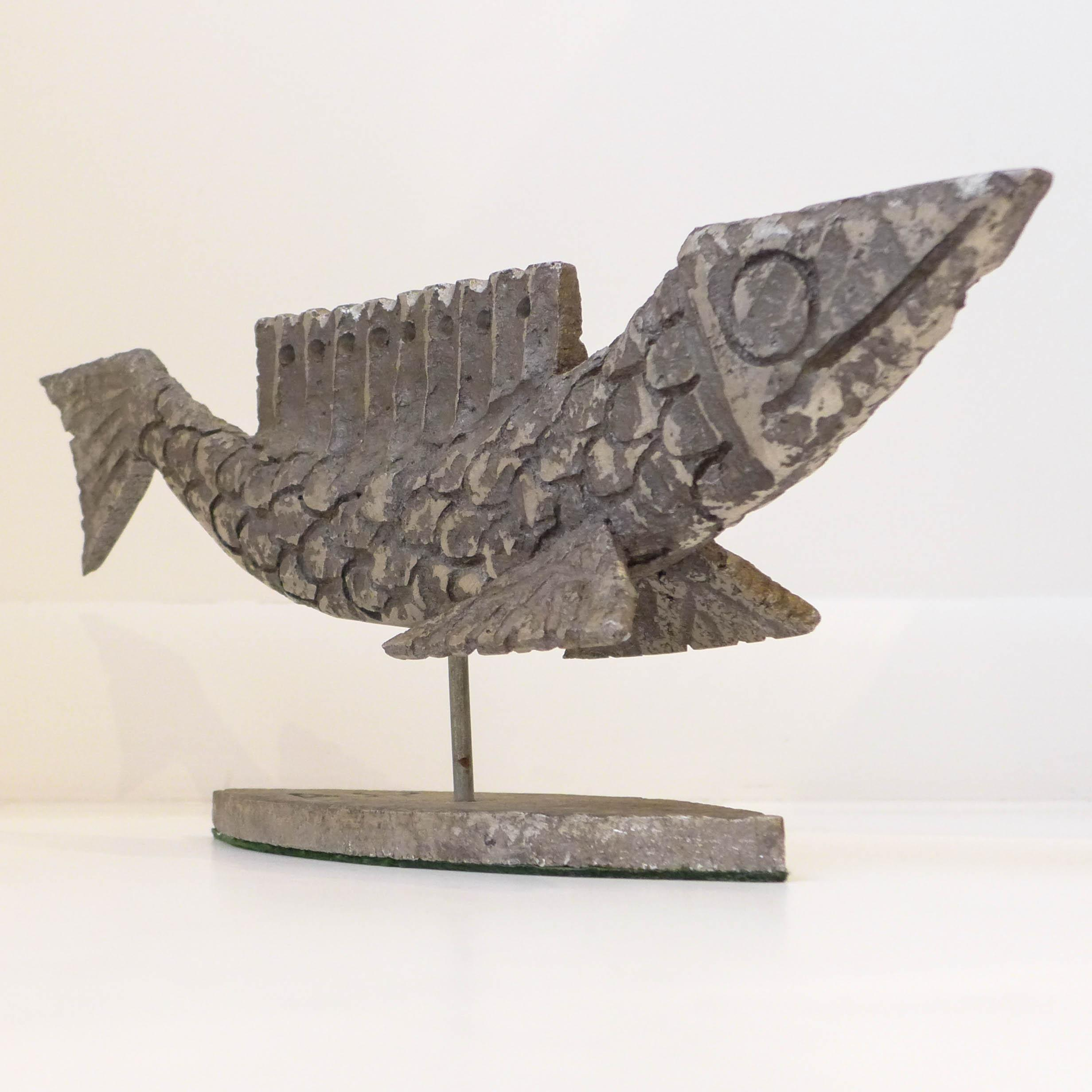 intersecting planes sculpture. brutalist cast aluminum fish sculpture - image 3 of 8 intersecting planes a