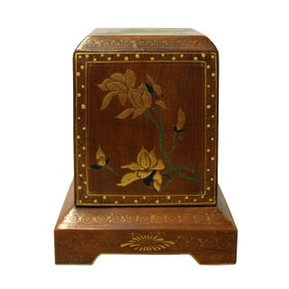Chinese Brown Lacquer Flower Graphic Display Box