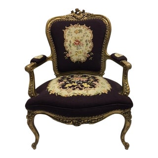 Gold Gilt Louis XV Needlepoint Chair