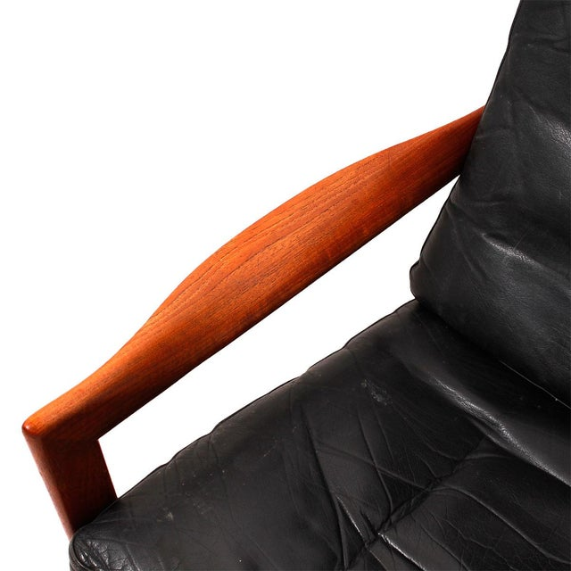 Illum Wikkelso Teak & Leather Lounge Chairs - Pair - Image 6 of 7