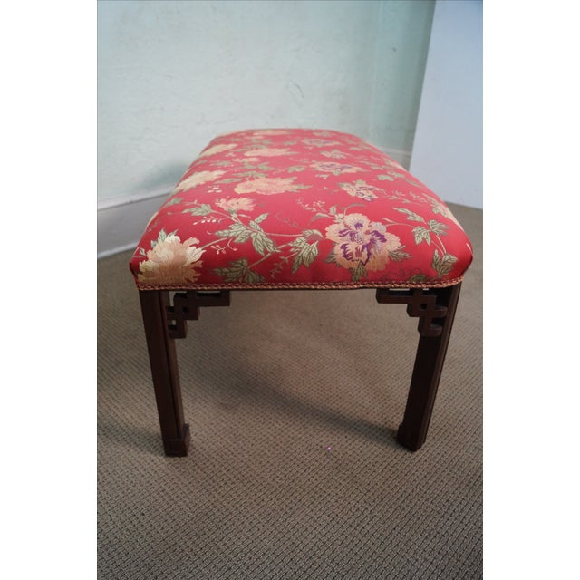 Vintage 1940s Mahogany Chippendale Style Bench - Image 4 of 10