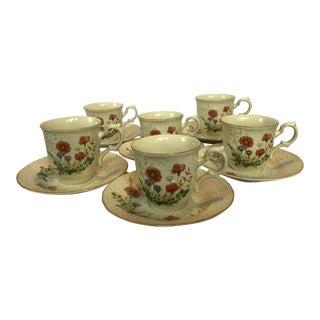 Mikasa Fine Ivory Margaux Teacup & Saucer Set of 6