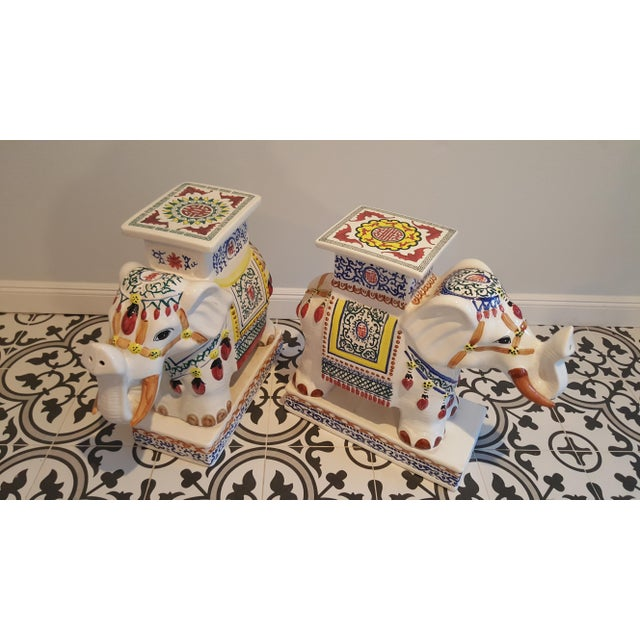 Ceramic Elephant Side Tables - A Pair - Image 10 of 11