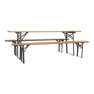 Folding Beer Garden Table and Bench - a set