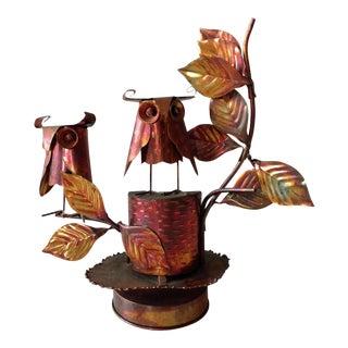 Vintage Copper Owl Sculpture Music Box