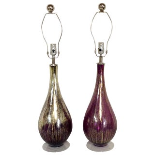 Blown Glass Purple & Gold Table Lamps - Pair