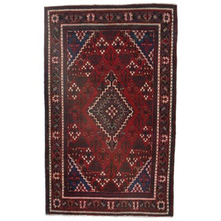 RugsinDallas Persian Hamadan Hand Knotted Wool Rug - 4′1″ × 6′7