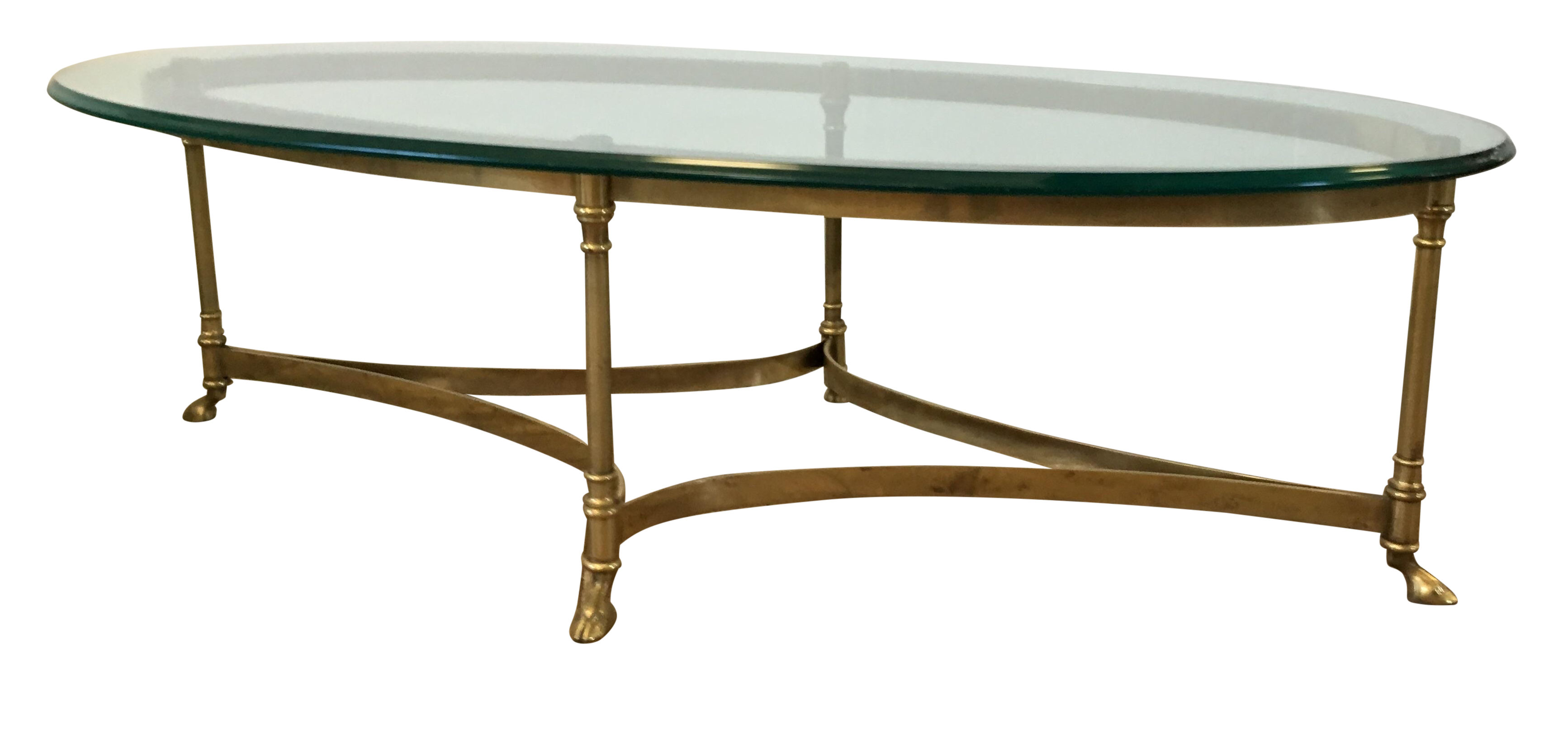 LaBarge Hollywood Regency Brass Oval Coffee Table
