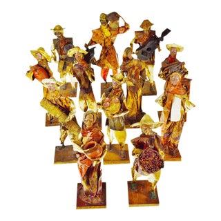 Vintage 1960's Mexican Folk Art Handmade Paper Mache Figures - Set of 12
