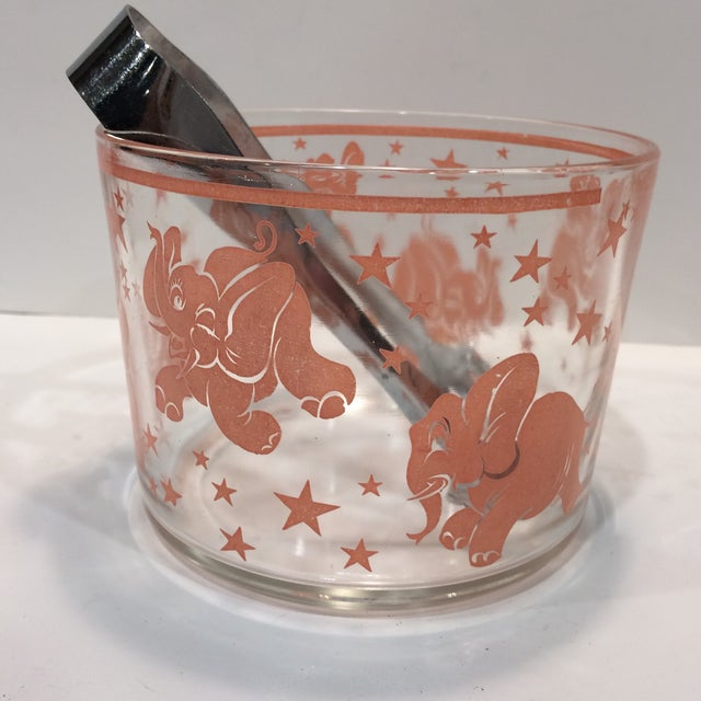 Vintage Hazel-Atlas Glass Pink Elephant Ice Bucket & Tongs - Image 4 of 11