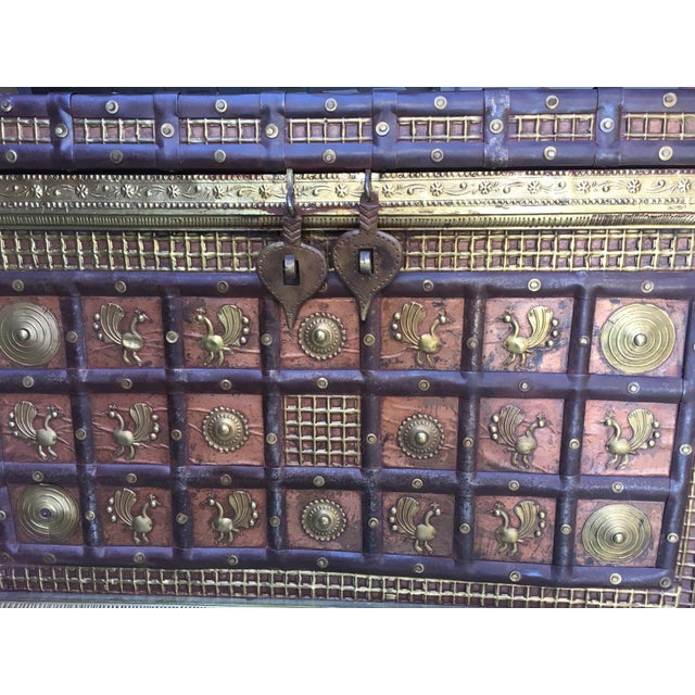 Exotic Chest Richly Adorned With Gleaming Brass Overlays on Copper - Image 3 of 6