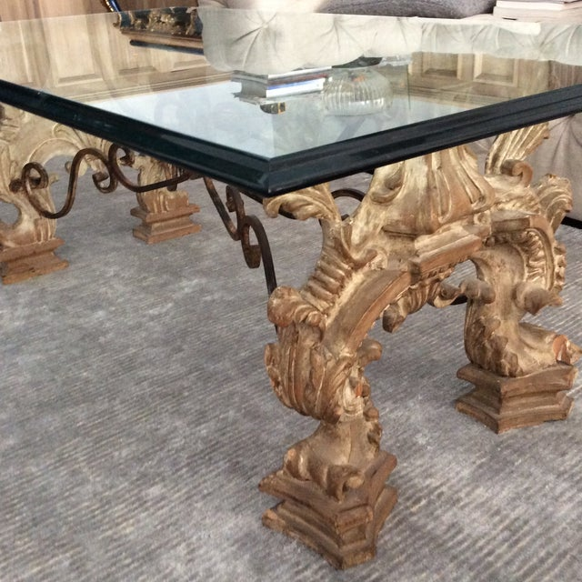 Glass and Carved Wood Coffee Table - Image 3 of 5