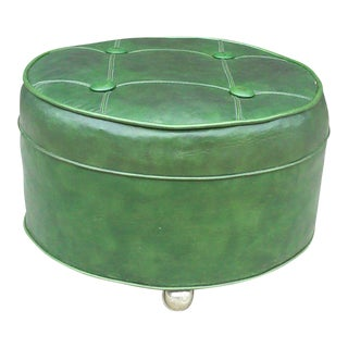 Mid-Century Green Naugahyde Tufted Round Stool
