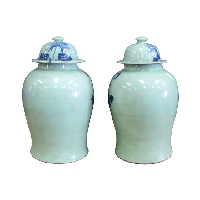 Image of Chinese Blue Porcelain Temple Jars - A Pair