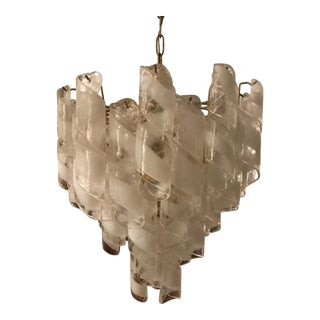 """Vintage Mezzega Brass and White Spiral Murano Glass 4 Tiered """"Torciglione"""" Chandelier"""