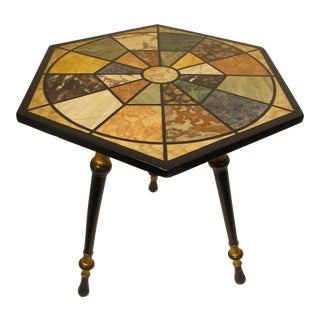 Faux Painted Marble Top Side Table