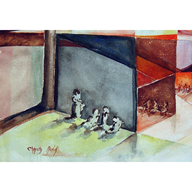 Christy Monk Watercolor - Abstract Gathering - Image 2 of 2