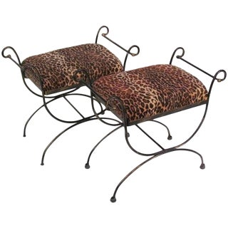 Mid-Century Modern Iron Leopard Print Cerule Benches - A Pair